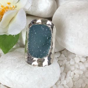 Jewelry - 🎀✨NATURAL BLUE AGATE DRUZY RING✨🎀